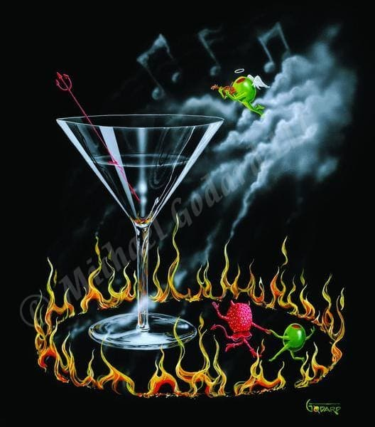 Black background canvas depicting a green olive dancing with the strawberry Devil next to a large martini glass surrounded by a circle of flames. A green olive angel playing a violin floats near the music note clouds. A devil pitchfork sits in the martini glass.