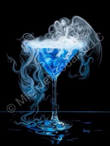 "Black background canvas. A martini glass full of beautiful blue with a wispy white angel next to the glass and one on top of the ""smoky"" martini glass. Very whimsical."