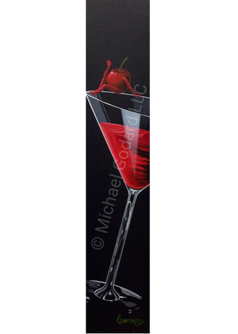 Black background canvas depicting a red cherry sitting on the edge of a martini glass full of a cherry martini.