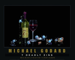 "Framed poster print. Seven purple grapes representing each of the 7 deadly sins. There is a green bottle of wine with a yellow label stating ""7 Deadly Zins"" and a half filled glass of red wine. ""Michael Godard 7 Deadly Zine"" across the bottom."