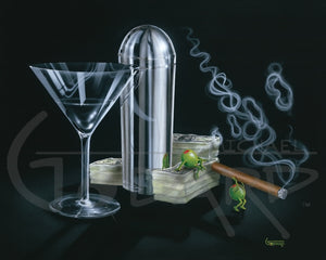 Black background canvas. This original painting features a martini glass, silver martini shaker, and two olives enjoying a cigar on top of a stack of $100 bills. Wispy smoke from the cigar forms a dollar sign.