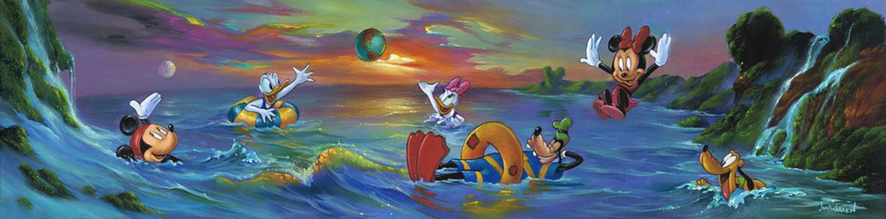 Mickey and friends are all swimming in a body of water surrounded by hills shaped like Mickey's ears. Minnie is jumping into the water as Goofy relaxes in a tube, and Goofy and Mickey are both smiling in the water. Daisy and Donald Duck are pointing up towards a small Earth in the sky, surrounded by colorful clouds.