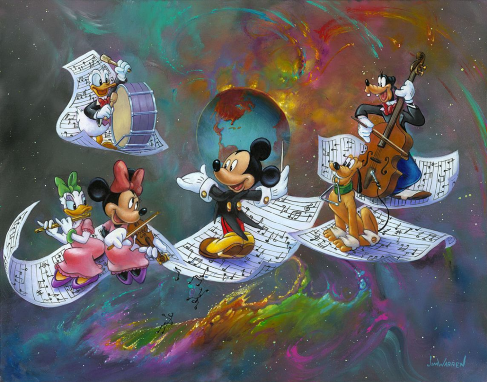 Mickey is conducting an orchestra made up of Pluto, playing triangle, Donald, playing bass drum, Goofy playing bass, Daisy playing flute, and Minnie playing violin. They are standing on pieces of floating sheet music covered in notes, with a rainbow version of space surrounding the planet Earth.