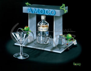 "Black background canvas. ""Amoco"" gas pump is pumping straight vodka from the ""Pure Vodka"" bottle into a martini glass. A male olive is holding the hose atop the glass. The female olive is holding a bag full of cash that says, ""Rita's Shopping Fund"". She is at a cash register."