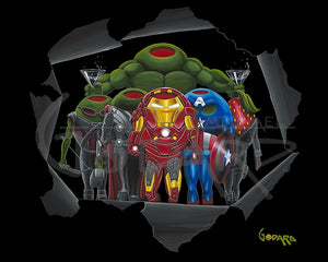 Black background canvas depicting the original Avengers, including the Hulk, Iron Man, Captain America, Thor, Hawkeye, and Black Widow. The hulk is holding a martini glass in each hand and they are standing inside what looks like torn black paper.