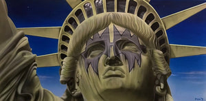 A close up is pictured of the statue of liberty, showing her face, crown, and part of her arm. It is a beige colored statue with a blue gradient featuring stars and clouds in the background. Around her eyes is the smeared, spiked, grey-blue face paint notoriously worn by Ace Frehley of Kiss.