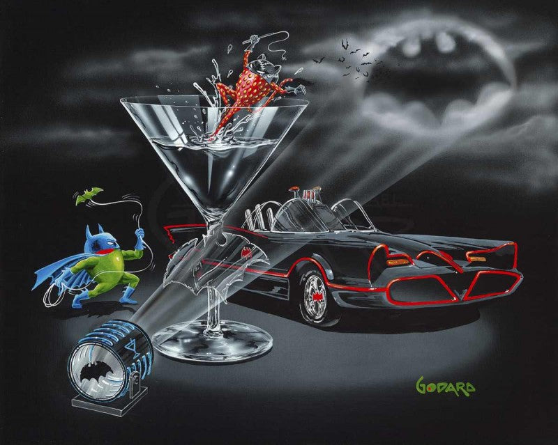 Black background canvas featuring batman as a green olive wearing his blue mask and cape. The strawberry Cat Woman is inside the martini glass. The glass has an etched bat in the stem. The black and red bat mobile car is awaiting them. The bat signal is high in the sky and several bats are approaching.