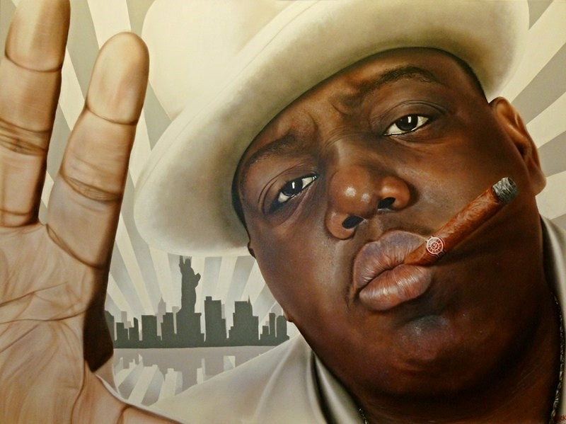 A close up of Biggie Smalls' face in a white top hat and suit is pictured, with the palm of his hand also facing forwards.  In his puckered lips is a cigarette. A black and white silhouette of New York City with beams of the same color coming out of it. This scene can be seen mirrored underneath.