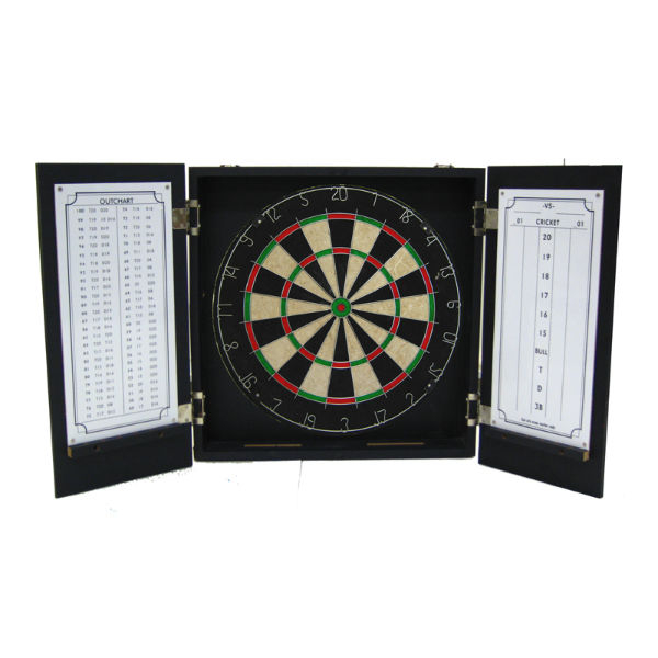 Tournament style dart board with white score keeping board on the right inner door. White Outchart on the left inner door.