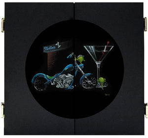 "Black background dart board depicting two olives hanging out side of a Martini bar. One of the olives is wearing a black bandana on his ""head"" and shining his blue motorcycle. The other female olive is leaning up against the large Martini class to the right."