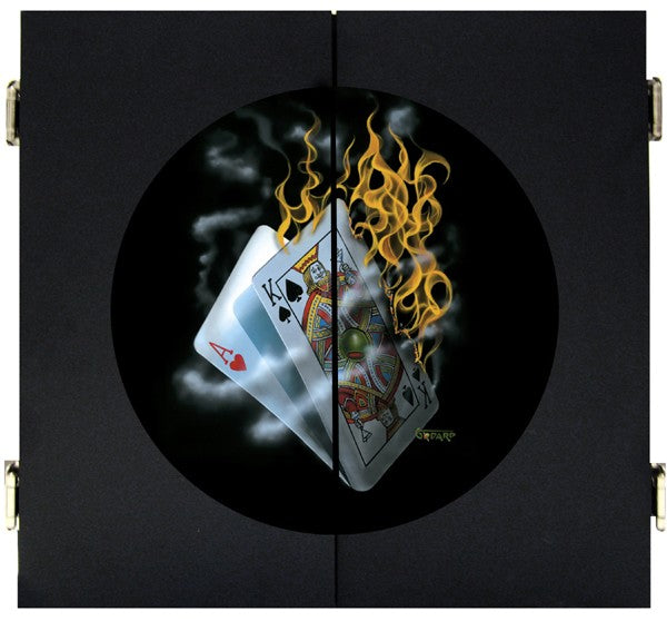 Black wooden dart board with image on front. This image depicts the hand of cards on fire. The King is holding up a martini as if toasting the winning hand. There is nothing more enjoyable than playing blackjack with a hot hand.