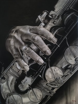 A black and white image with a closeup of a hand with its fingers placed on a heavily detailed saxophone. The background of the image is plain black on the upper left side and a off white on the lower right side.