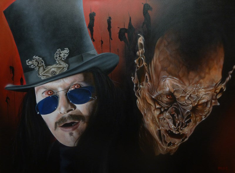 Two depictions of Bram Stoker's Dracula from the 1992 film. On the left, a pale skinned, red eyed man with a mustache and long black hair, in a top hat, blue-lens glasses appears shocked, with his mouth slightly ajar. On the right, a red distorted face with large flaming ears and a terrifying glare. The background is red with several silhouettes of people shanked on what appears to be very tall stakes.