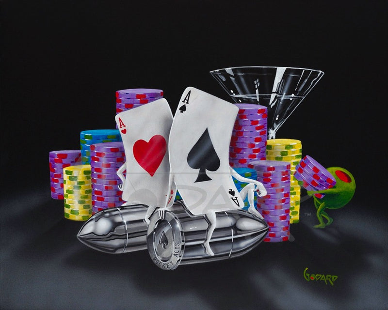 Black background Canvas.This poker image depicts two Aces with arms and legs, one of hearts, the other of Spades, sitting on two silver bullets. A martini glass peers out from behind several stacks of purple, yellow and blue poker chips, while a green olive carries a stack of purple chips.