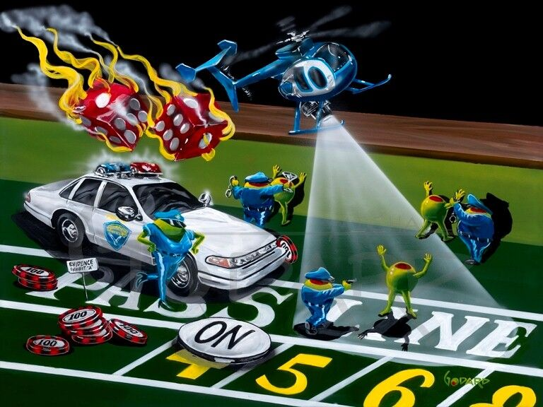 Michael Godard artwork of animated olives being arrested  with cop car and helicopter, flaming dice rolling in over craps table