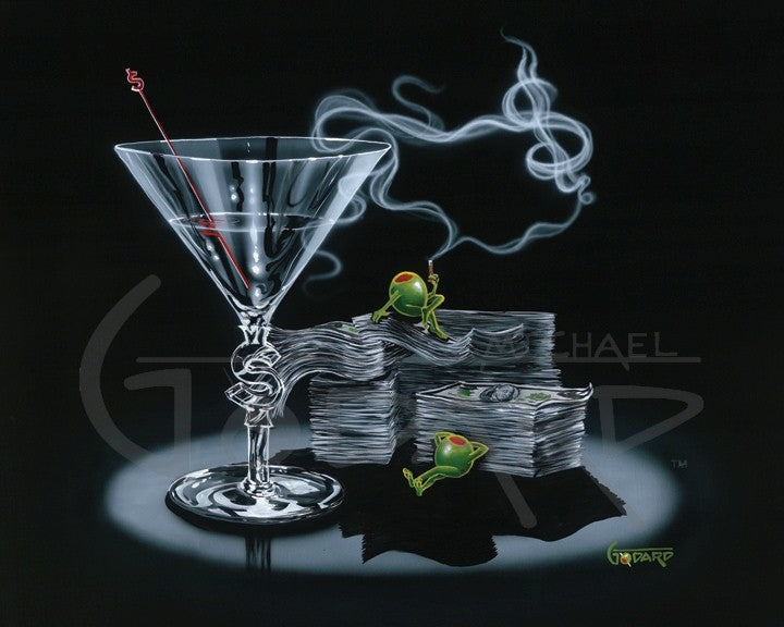Black background canvas depictig two green olives lounging on stacks of cash, one olive is smoking and the smoke forms a dollar sign. The martini glass has a dollar sign carved into the stem and a red dollar sign stir stick is inside the glass.