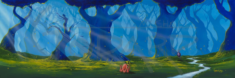 A forest is depicted with the lower branches of trees, some forming hearts all over this long horizontal piece of art. The sun raise shining through the blue haze. One tree forms the shape of a female with arms reached outward. A tire swing hangs from one of the trees and a single strawberry lays on the green grass next to a stream watching the fireflies.