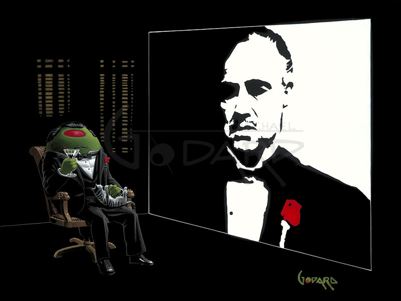 "Black background canvas depicting the real ""God Father"" on the right and a green olive ""God Father"" on the left holding a martini in one hand and has a grey and white striped cat on his lap playing."