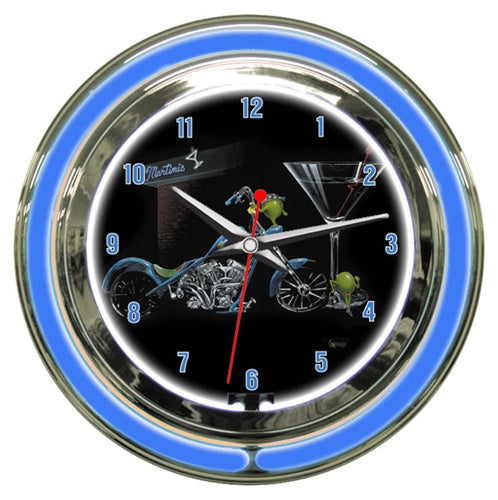 "Black background blue neon clock depicting two olives hanging out side of a Martini bar. One of the olives is wearing a black bandana on his ""head"" and shining his blue motorcycle. The other female olive is leaning up against the large Martini class to the right."