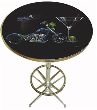 "Black background pub table depicting two olives hanging out side of a Martini bar. One of the olives is wearing a black bandana on his ""head"" and shining his blue motorcycle. The other female olive is leaning up against the large Martini class to the right."