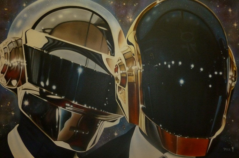 A painting of daft punk with their signature space helmets is shown. The helmets are mostly gold with a black screen on the face. They appear to be wearing black and white tight suits. In the background is space, with lots of gold twinkling stars and purple and blue hues.