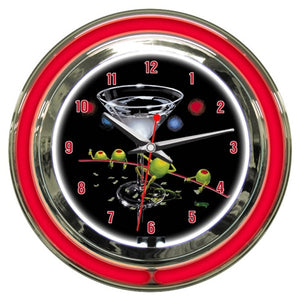 "Black background red neon clock depicting a female green olive doing a ""dirty dance"" on the stem of a martini glass. She has dollar bills tucked into her stockings, while three male green olives are sitting around the table watching the ""dancer""."
