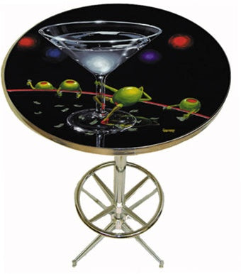 "Black background pub table depicting a female green olive doing a ""dirty dance"" on the stem of a martini glass. She has dollar bills tucked into her stockings, while three male green olives are sitting around the table watching the ""dancer""."