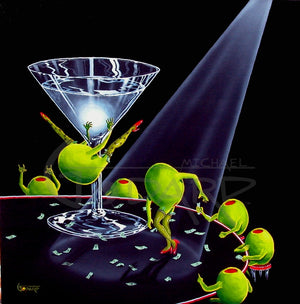 "Black background canvas depicting a female green olive doing a ""dirty dance"" on the stem of a martini glass. She has dollar bills tucked into her stockings. Another female green olive is busy picking up the cash, while five male green olives are sitting around the table watching the ""dancers""."