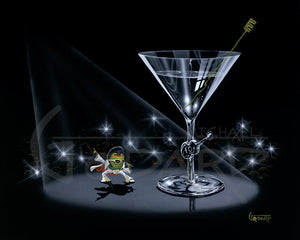"Black background on canvas depicting a green olive as Elvis Presley, wearing his famous white suit with cape. The stir stick is green and in the shape of an ""E"". A guitar adorns the stem of the martini glass and flashes from the cameras go off behind him."