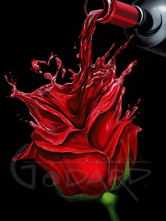 Black background on canvas depicting a bottle of red wine in the upper right corner being poured and it pours into a beautiful red rose and splashes into a wine heart at the top of the rose.