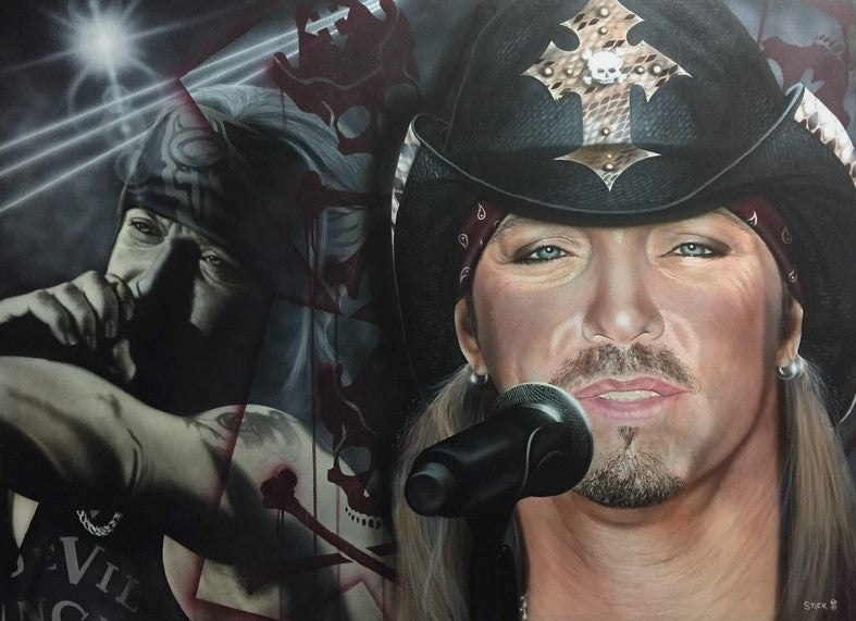 Bret Michaels - Giving Me Something to Believe In - painting by Stickman