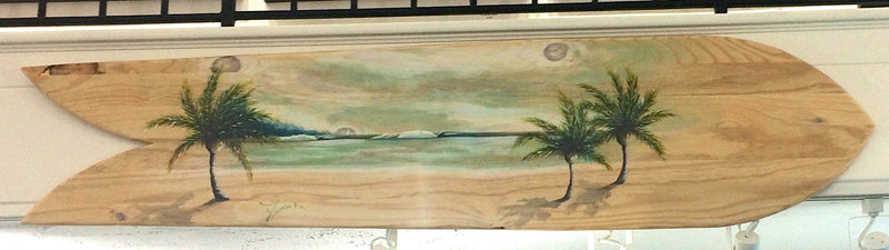 Alaia Surfboard with 3 Palm Trees - Michael Godard Art Gallery