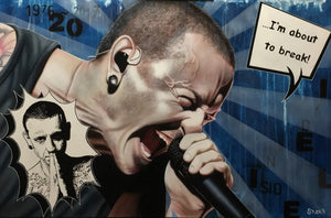 "Chester Bennnington of Linkin Park is shown yelling into a microphone. His head is shaved and he is wearing a black tank top. In the left bottom corner is a small sketch of Chester, facing forwards with his hands together. On the upper right side is a square text bubble saying ""...I'm about to break!"" Various letters and numbers are in black against a light and dark blue striped background."