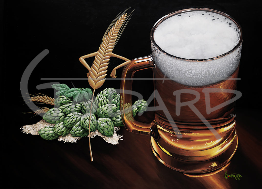 Black background canvas featuring a play on words from an adult version of the Jungle Book song. Here you will find all the ingredients required to create beer: Barley, Hops, Malt, and - of course - Wheat! The wheat is proudly leaning against the tall glass of beer with a foaming froth.