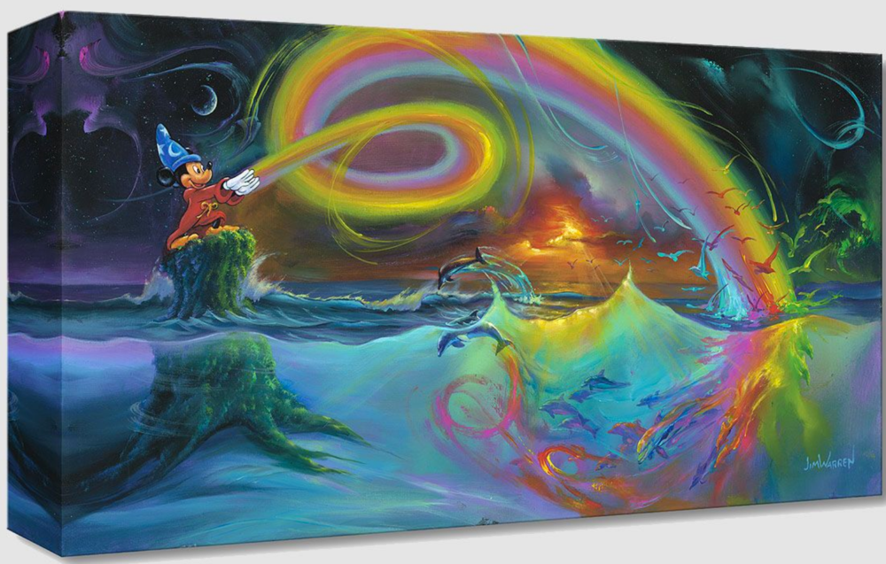 Wizard Mickey stands on a green stump, the bottom half which you can see underwater. He shoots rainbows from his hands, which swirl and dive into the water. Under the water comes dolphins from the color, swimming and jumping. Above the water comes rainbow birds flying away. In the background is swirls of color in the starry darkness.