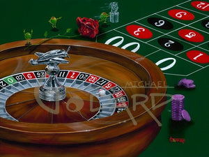 Michael Godard painting of a roulette wheel and a rose with olives