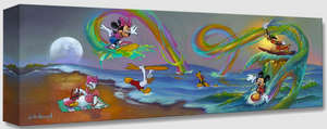 Mickey and friends are at the beach with a setting moon on the left and a hazy sun  on the right. Daisy is sitting on a towel, watching the rest of the gang. Donald is running into the water with a surfboard over his head. Pluto is swimming with goggles on. Mickey, Minnie, and Goofy are all surfing on bursts of rainbows coming from the water.