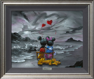 A black and white rocky beach scene is pictured, with various shades of grey clouds, light, mountains, and waves. In the middle of the grey is a colorful Mickey and Minnie sitting on a bench, Pluto sleeping behind the couple. Above them flies two red heart-shaped balloons.