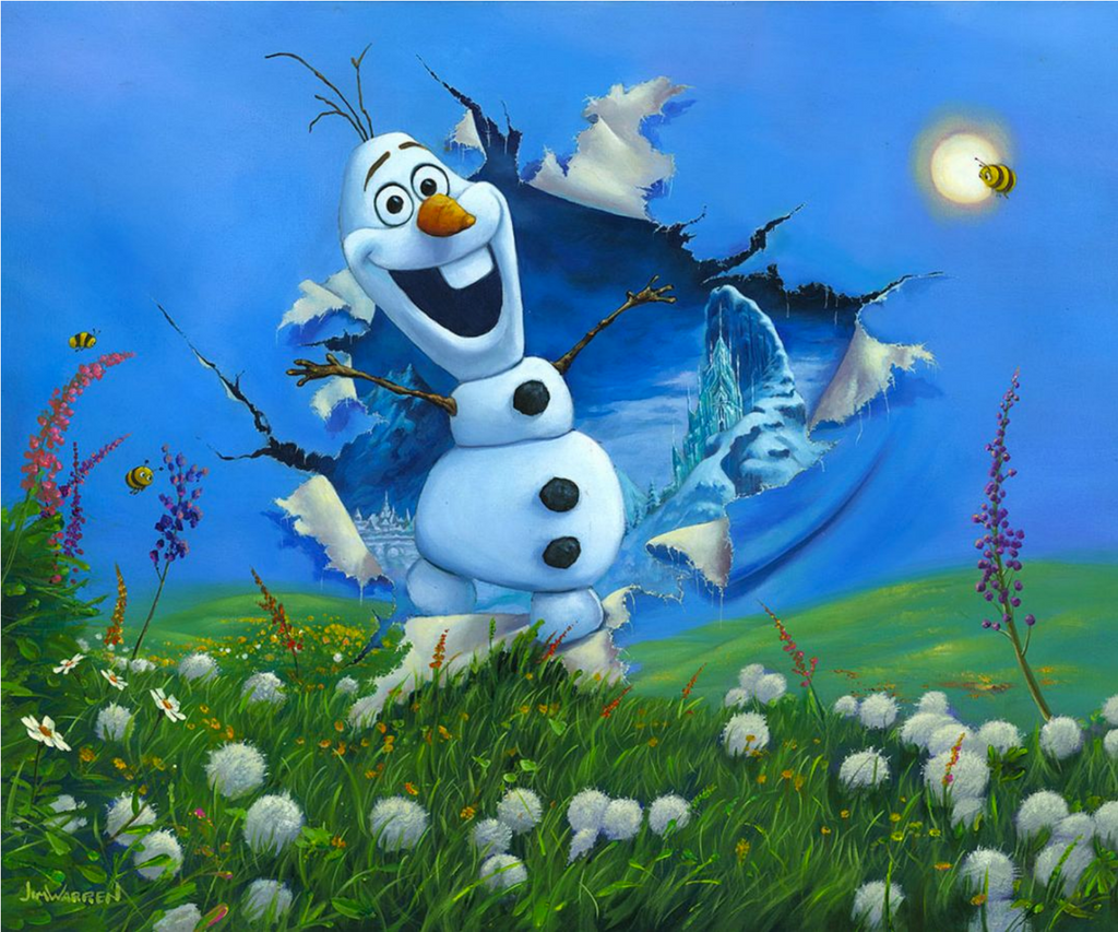 A colorful spring landscape, with blue cloudless skies, green hills, pink and purple flowers and white dandelions, is interrupted by a smiling Olaf busting through the painting. He steps out of a blue and white icy winter, with snow covered trees and mountains.