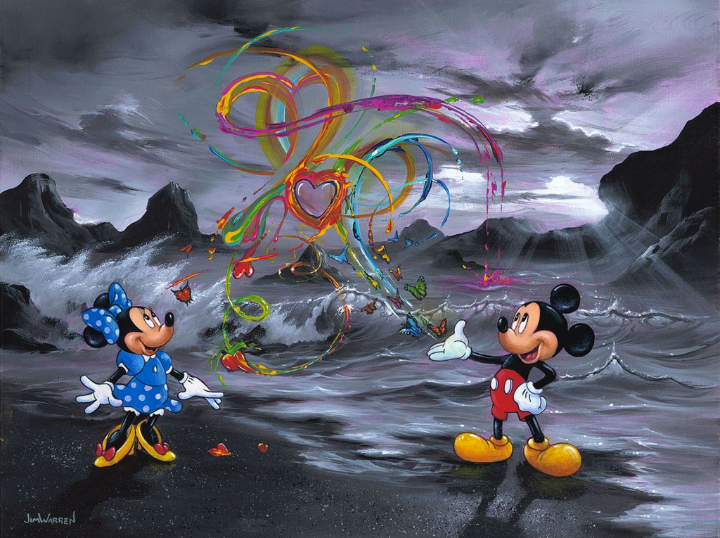 A black and white rocky ocean landscape is interrupted by a colorful Mickey and Minnie Mouse. Coming from Mickey's hand is a spur of color in the form of butterflies, hearts, and swirls of paint.