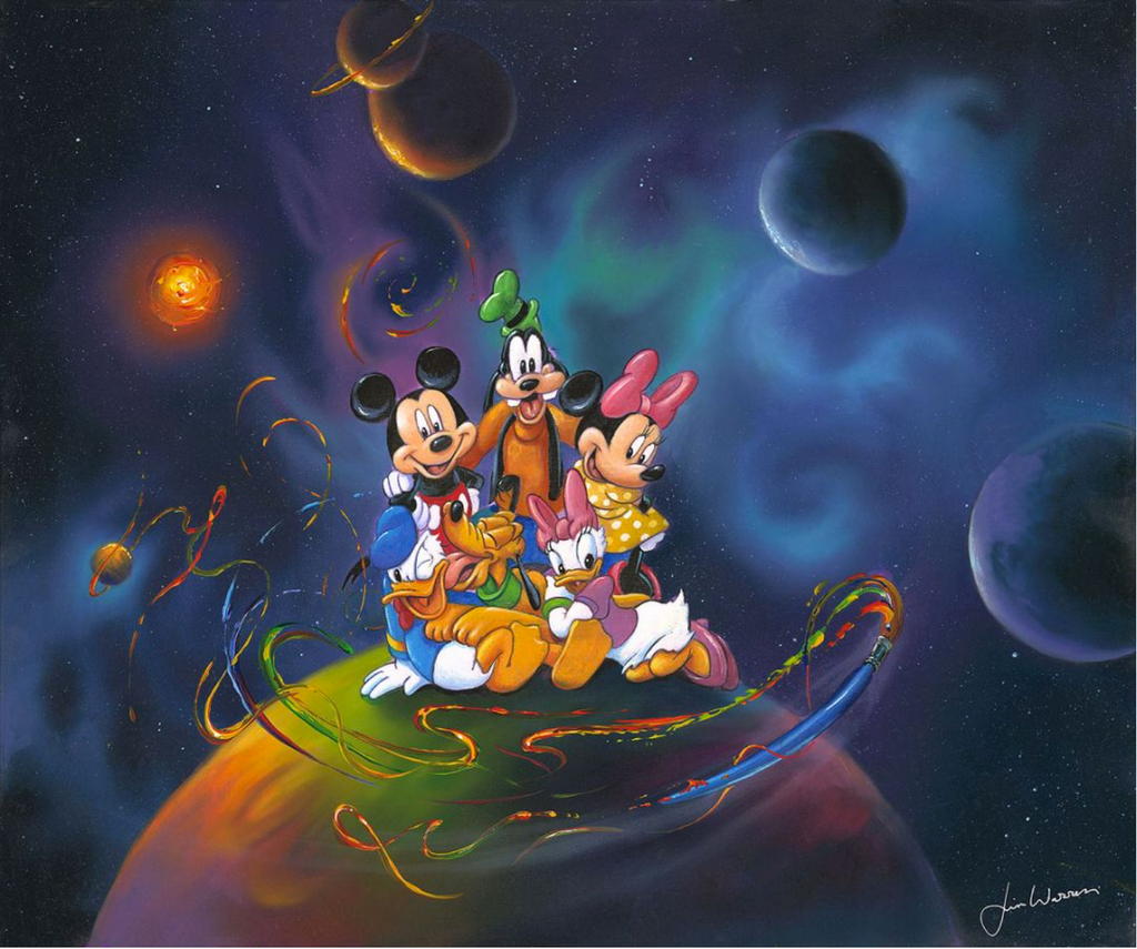 Mickey and his crew of Minnie, Goofy, Daisy, Donald, and Pluto, are smiling and sitting on top of a planet in a solar system. The rainbow-hued planet is being circled by a flying paintbrush, leaving behind colorful dashes of paint. The other planets, as well as a bright orange star, are in the background surrounded by the blues and purples of the galaxy and stars.
