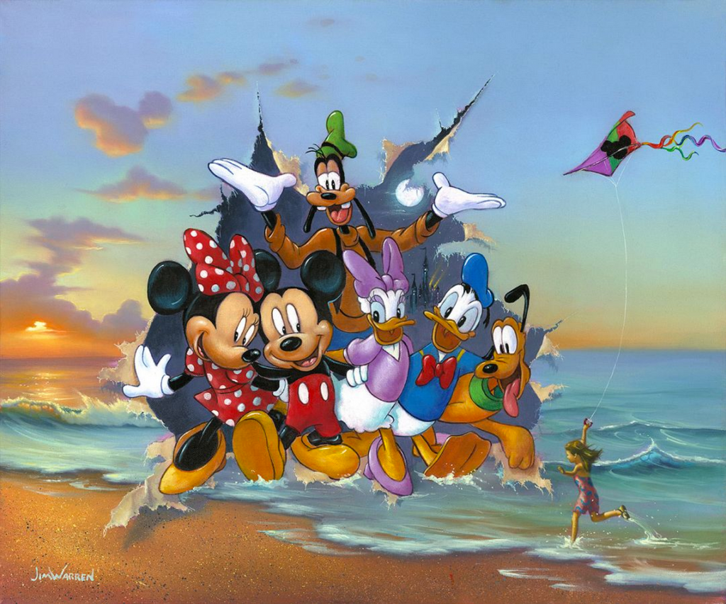Mickey, Minnie, Daisy, Donald, Pluto, and Goofy are bursting through a painting of a sunset on a beach, smiling with their arms around each other. On the beach is a girl running with a colorful kite with a Mickey emblem. Clouds in the distance also hold this shape, while the scene Mickey and friends are bursting from pictures a moon and a tiny lit up Cinderella's castle.
