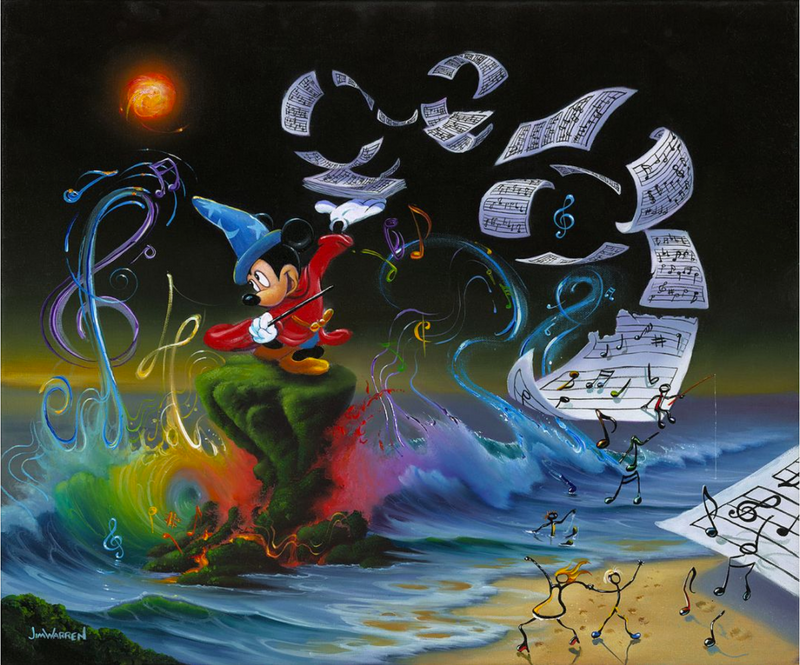 Wizard Mickey stands on a grassy platform in the ocean, near a sandy shore. In one hand is a wand, the other a stack of sheet music. The sheet music flies from his hand and spirals towards shore, where colorful music note men dance off the page. Behind him is a rainbow wave, with colorful clefs and notes coming from it.