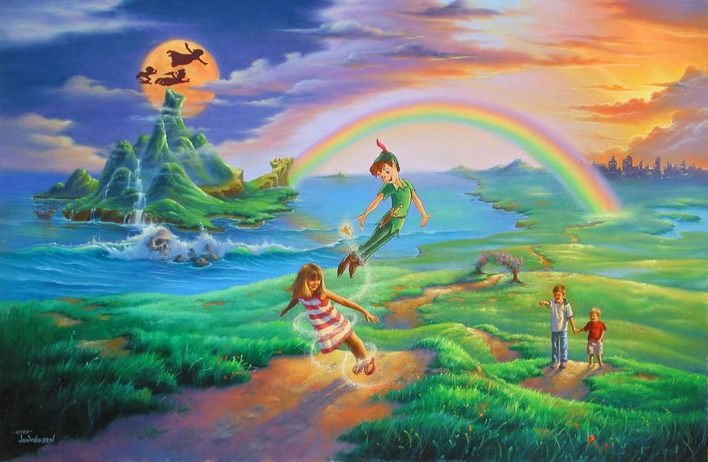 Peter Pan uses his magic to make a girl fly in a hilly green landscape, with two boys watching and pointing in awe. In the distance is a lit up city, and a rainbow connects this with the island of neverland, whose inhabitants are flying in front of an orange moon in a blue sky. On the other side is a orange sky and a setting sun.