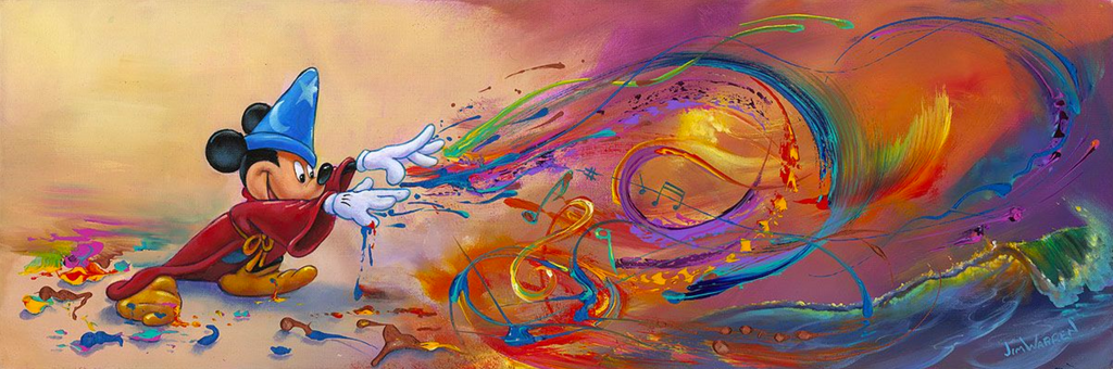 A wizard Mickey Mouse is shown on the left, surrounded by globs of paint and an otherwise beige background. Shooting from his hands across the landscape is colorful swirls and waves of paint, some in the shape of music notes, ending in a crashing ocean wave, surrounded by colorful light.