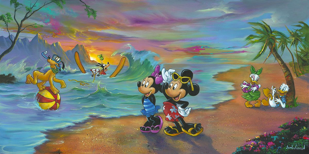 Mickey and Minnie are standing on a beach setting with a colorful sky in their swimsuits. Daisy dances in a hula skirt, dancing for Donald who is playing ukulele under a palm tree. Goofy is in the water, struggling with his water skis as he sits in the water, while Pluto stands on a beach ball floating in the water.
