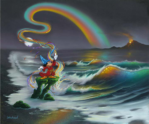 Wizard Mickey stands in red robes and a blue hat on a small green platform in an otherwise gray beach setting. A rainbow comes from Mickey's wand, creating a reflection of color in the waves and sand beneath it. There is also an orange light coming from a volcano in the upper right corner.