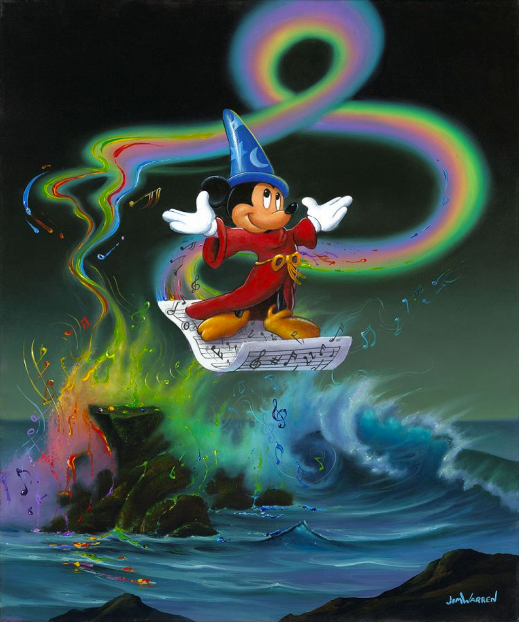 Wizard Mickey in a red robe and a blue hat is standing on a piece of floating sheet music. Below him, a rough sea splashing over large rocks. Trailing behind the music is a rainbow swirling around the piece down into the water, with rainbow colored music notes dancing around it.