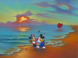 "Mickey kisses Minnie's hand as her older holds a bouquet of flowers. They stand on a beach, in which a heart with ""love"" above it is carved into the sand, and other red hearts are in the water or sand. In the sunset is several hearts cut out of the clouds, reflected in the sea below it."