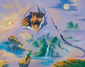 A realistic drawing of captain hook bursts through a painting of neverland, with his hook slashing through as well. Peter Pan reaches towards Tinker Bell, who has flown close to the hook. A rock path above the water leads to a small grove of trees, and behind Hook is a green mountainous region. Both a setting sun and a high moon can be seen.